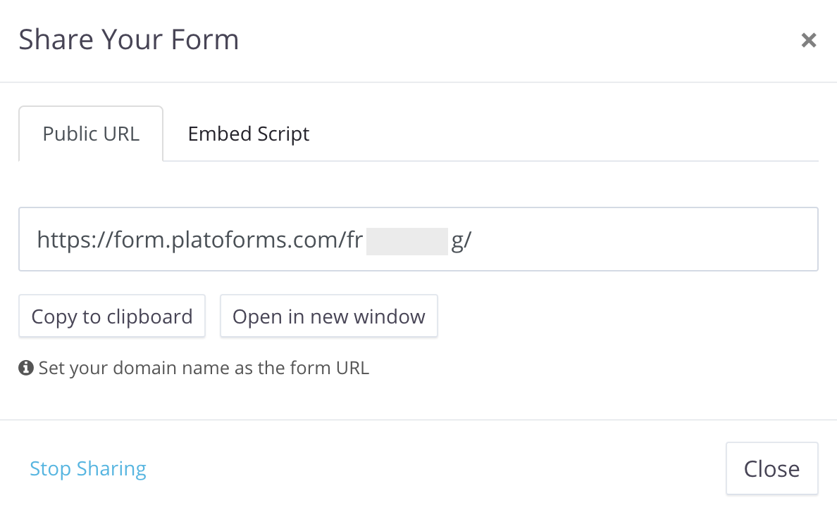 fillable form sharing URL